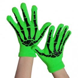 Gants femme gothiques verts à squelette noir - Poizen Industries