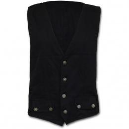 Gilet gothique rock homme noir à 4 boutons et poches
