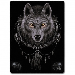 Grande couverture en molleton avec loup et attrape-rêves amérindien