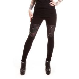 Legging goth-rock noir ajouré à sangles - Heartless