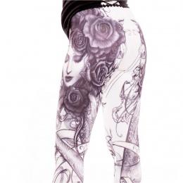 Leggings gothique femme et roses - Alchemy Black