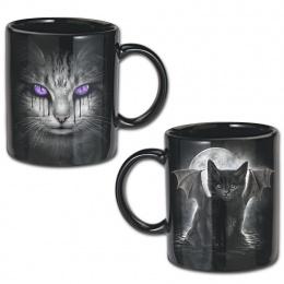 Lot de 2 mugs gothiques noirs avec chat