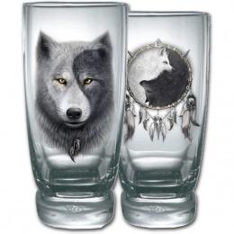 Lot de 2 verres avec loups et attrape rêve inspiration Yin et Yang