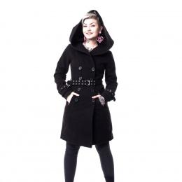 Manteau à capuche goth-rock femme noir DECAY - Vixxin
