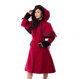 Manteau capuche femme rouge à rubans noir ELENA - Vixxin