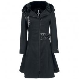 Manteau femme gothique noir à rubans lacés et broche TEARS - Alchemy Black