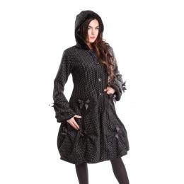 """Manteau femme noir à pois blancs """"Polka"""" et rubans - Poizen Industries"""