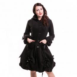 Manteau femme noir à rubans - Poizen Industries