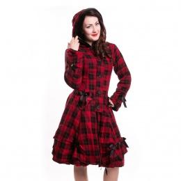 Manteau femme tartan noir et rouge à rubans - Poizen Industries