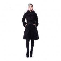 Manteau goth-rock femme noir FROZEN - Poizen Industries