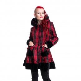 Manteau punk-rock femme tartan rouge et noir ELSA COAT - Vixxin