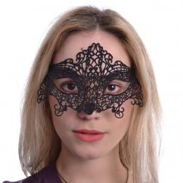 Masque venitien à arabesques en dentelle noire Lucrezia
