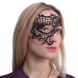 Masque venitien couvrant en dentelle noire Allegra