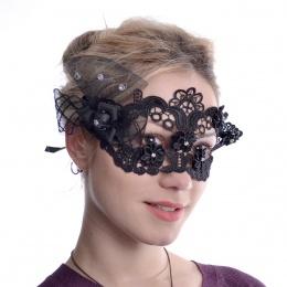 Masque venitien dentelle noire à roses, strass et voilage