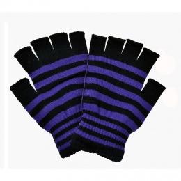 Mitaines femme rayées violet et noir - Poizen Industries
