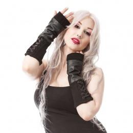 Mitaines goth-rock femme similicuir corsettées - Poizen Industries