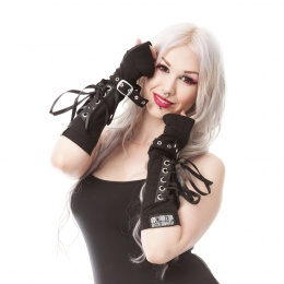 Mitaines gothiques noires femme CORSET ARMWARMER - Poizen Industries