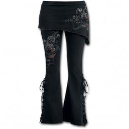 Pantalon Legging pattes d'eph / jupe (2en1) à roses noires et serpents