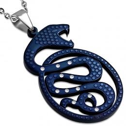 Pendentif acier serpent bleu à pierres claires