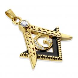 Pendentif homme symbole franc-macon doré et noir en acier