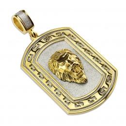 Pendentif plaque dorée tête de lion en relief
