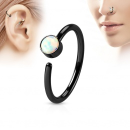 Piercing anneau tragus / nez noir à opale blanche