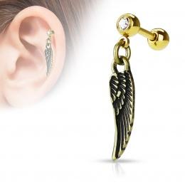 Piercing cartilage à pendentif aile d'ange - doré