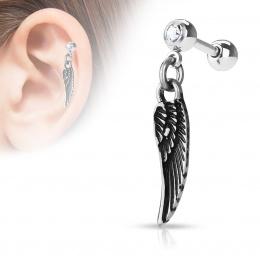 Piercing cartilage à pendentif aile d'ange - gris métal