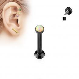 Piercing cartilage serti opale noire