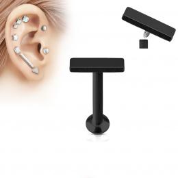 Piercing cartilage petite barre noire