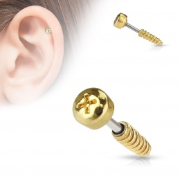 Piercing cartilage vis cruciforme dorée