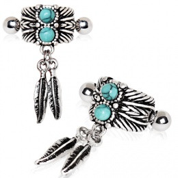 Piercing hélix style indien à plumes et turquoises