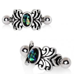 Piercing hélix style médiéval à motifs floraux et Opale