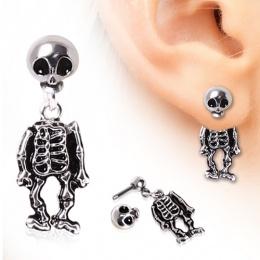 Piercing lobe oreille en forme de squelette à tête articulée