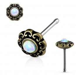 Piercing nez doré antique à coeurs et Opale blanche