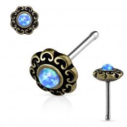 Piercing nez doré antique à coeurs et Opale bleue