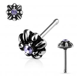 Piercing nez double croix tribale à cristal violet