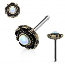 Piercing nez fleur doré antique à Opale blanche