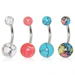 Piercing nombril à boules imitation pierres semi-précieuses