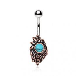 Piercing nombril à ornement médiéval avec turquoise