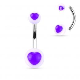 Piercing nombril boules à coeurs pourpres
