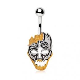 Piercing nombril crane en feu à masque vénitien