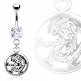 Piercing nombril gothique dragon encerclé