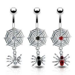 Piercing nombril gothique toile et araignée
