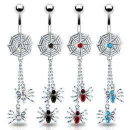 Piercing nombril gothique toile et 2 araignées