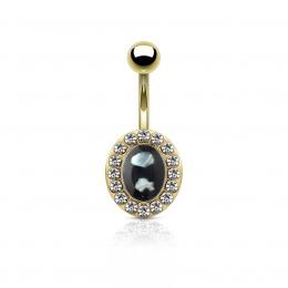 Piercing nombril ovale doré pavé de strass à centre perlé