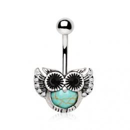 Piercing nombril petite chouette en vol avec Turquoise