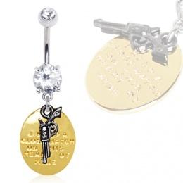 Piercing nombril pistolet et plaque dorée