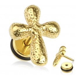 Piercing oreille style faux plug doré avec croix vieillie