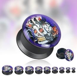 Piercing plug gothique logo Squelette Poker